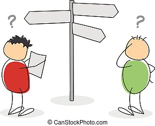 Two lost colorful cartoon stick figures or tourists with round bodies and heads standing looking at a map and signboard with question marks above their heads in a concept of choices