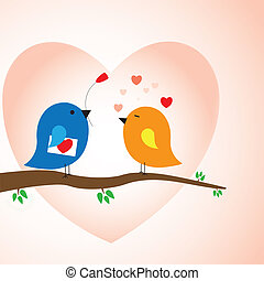 Two love birds in love - valentine day's concept.