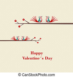 Two love birds in love - valentine day's concept.