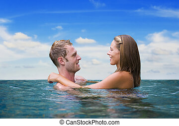two love birds in the sea