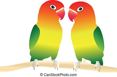 Two Lovebirds perched on a tree branch suitable for Valentines Day Card