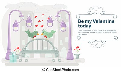 two lovebirds sit on a bench against the background of the city the inscription congratulations on a holiday illustration for design flat style
