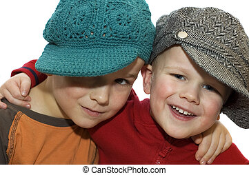 Two lovely brothers with hats