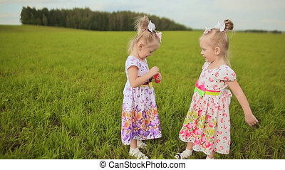 Two lovely little sisters twins in a meadow blow bubbles and give each other kisses.