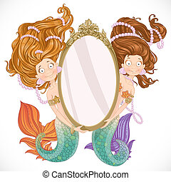 Two lovely mermaid with flowing long hair holding a big mirror isolated on white background
