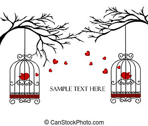 Two lovers birds in cages on the branches