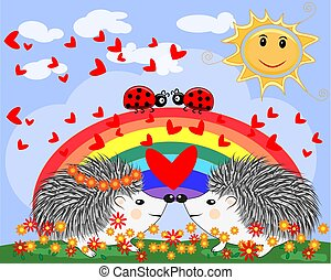 Two lovers cute cartoon hedgehogs, a boy and a girl near a seven-colored rainbow and ladybugs on a spring, summer day