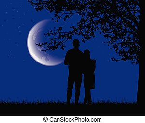 Two lovers embracing and looking at a luminous moon under a romantic purple night sky with stars - vector