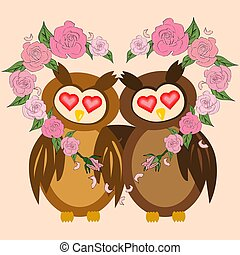 Two lovers embracing the wings of an owl with a wreath of roses in the shape of a heart. Eyes of the heart