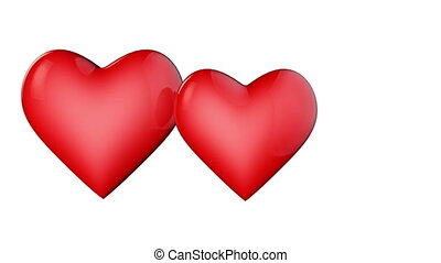 Two lovers hearts. Valentine. 3D animation.