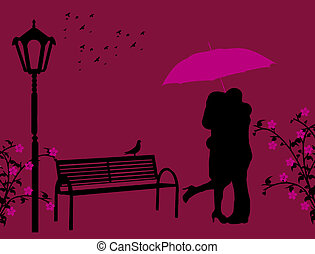 Two lovers - Lovers in a park under red umbrella, vector...