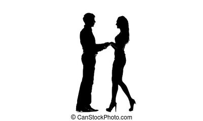 Two lovers man silhouette, white background