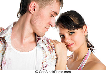 Two lovers on white background