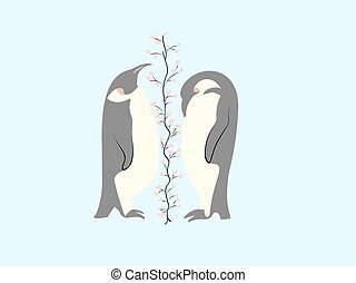 Two lovers penguin