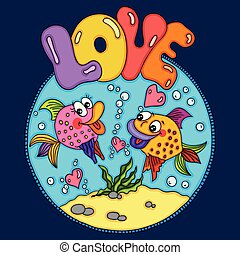 Two loving fishes swim in round sea background