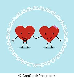 Two Loving Hearts in a Decorative Frame Flat Style