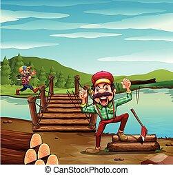 Two lumber jacks chopping woods