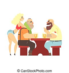 Two Lumberjacks Chatting At The Table With Sexy Waitress...