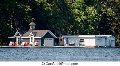 Two luxury boathouses - Two large boathouses on Lake Muskoka