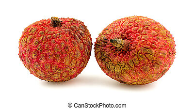 Two lychee fruits isolated on white