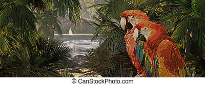 A tropical scene of a island coastline with two macaws and sailboat.