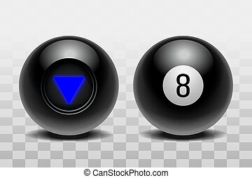 Two magic balls of predictions for decision-making. Realistic black Balls isolated on a transparent background. Vector illustration EPS 10