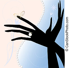 two magic hands - on a light background with abstract ...