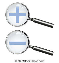 Two magnifying glass with plus and minus