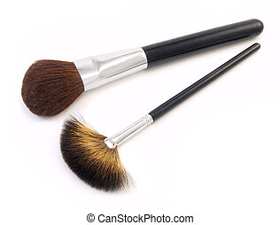 Two Makeup Brushes on a white background