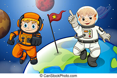 Two male astronauts in the outerspace - Illustration of the...
