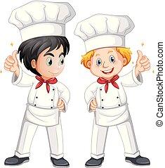 Two male chef in white costume