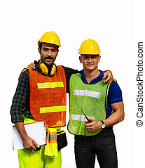 Two male construction workers or engineers Isolated on white...
