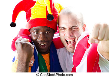 excited sports fans - two male excited sports fans cheering...