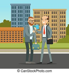 Two male friends or colleagues meeting on city street, friendship concept vector Illustration