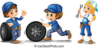 Two male mechanics and a female mechanic - Illustration of...
