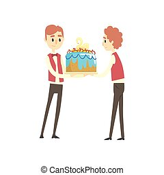 Two male waiter holding festive cake with swan cartoon vector Illustration