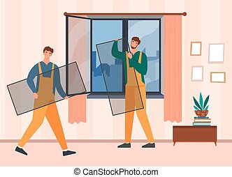 Two male workers in overalls installing mosquito net on plastic window in apartments from inside. Concept of protection from insects at summer period. Flat cartoon vector illustration