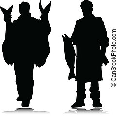two man and fish vector silhouettes