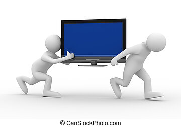 two man carry  TV. Isolated 3D image