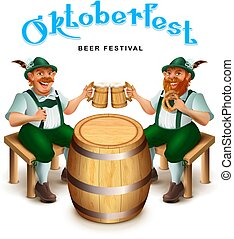 Two man in traditional german clothes sit and drink beer. Oktoberfest beer festival