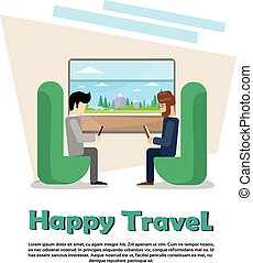 Two Man In Train Compartment Vacation Holiday Trip Banner...