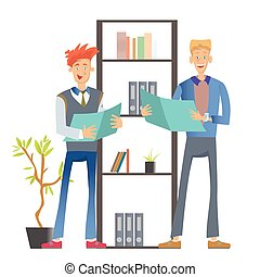 Two man office workers in casual clothes standing at the shelf with folders and holding documents. Business vector illustration, isolated on white.