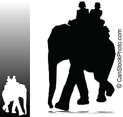 two man on elephant silhouettes