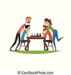 Two man playing chess with their girlfriends, friends playing a board game vector Illustration on a white background