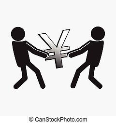 Two Man pulling a money symbol