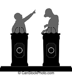 two man saw clipart. two man silhouette debate on platform illustration - mansaw clipart