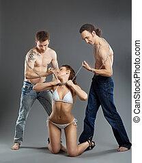 Two man take woman on chain - bdsm games - Two man take...