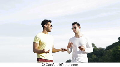 Two Man Talking Over Blue Sky, Gay Couple Communication...