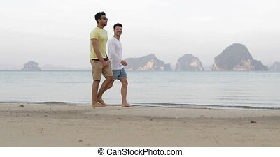 Two Man Walking Along Beach Talking, Gay Couple...