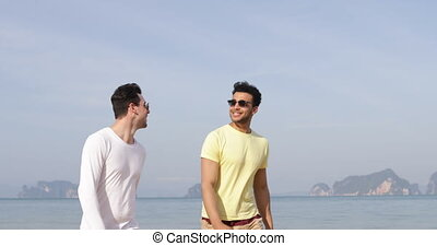 Two Man Walking Along Beach Talking, Happy Smile Gay Couple...